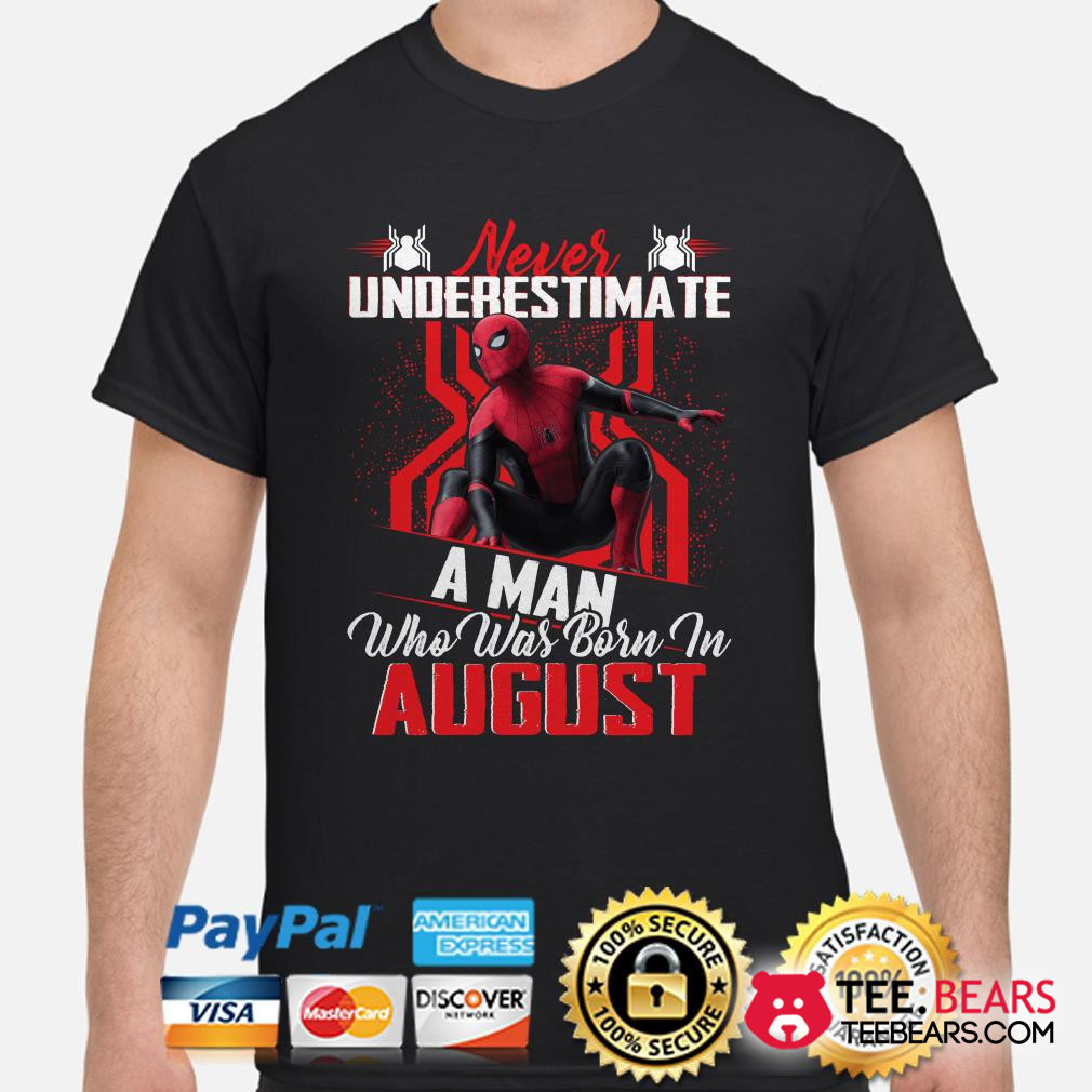 Spider-man Never underestimate a man who was born in August shirt
