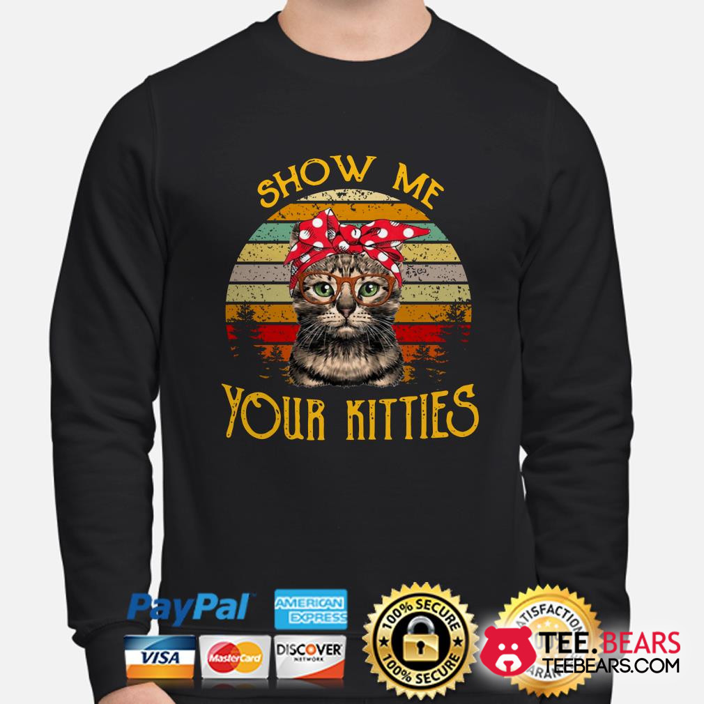 Cat show me your kitties vintage sunset sweater