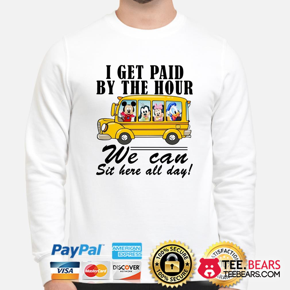 Mickey school bus I get paid by the hour we can sit here all day sweater